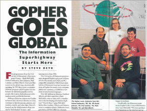 A 1994 University of Minnesota alumni magazine spread featuring the Gopher protocol architects.
