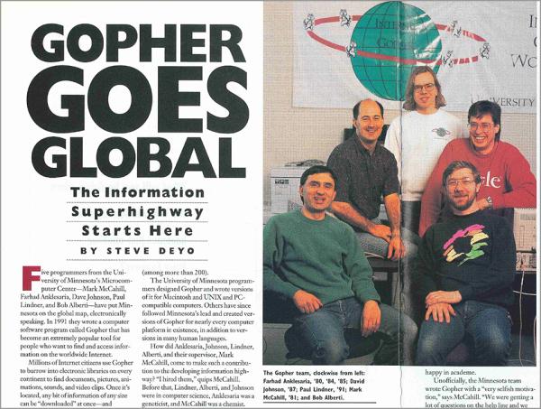 A 1994 University of Minnesota alumni magazine spread featuring the Gopher protocol architects.