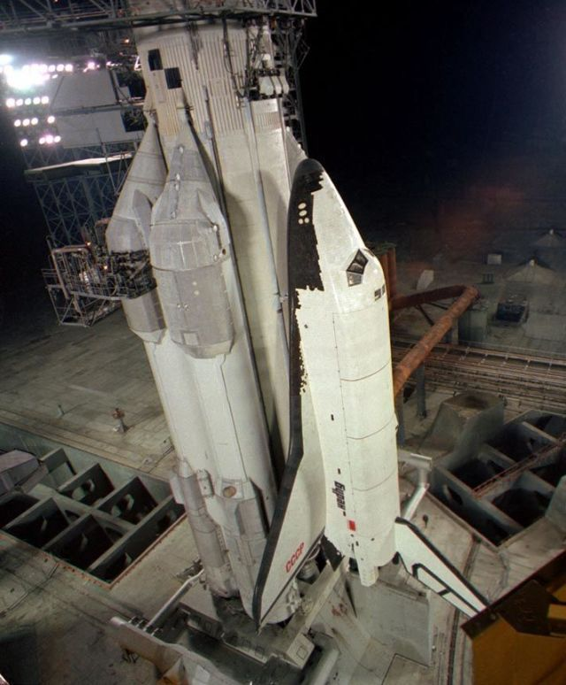 Now abandoned Buran shuttle, on an Energia booster